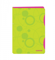 Ringbinder folder A4 polypropylen, 4 rings Duo Colori green-pink