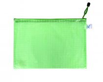 Mesh envelope with zipper A4 green