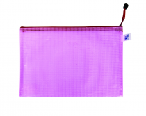 Mesh envelope with zipper A4 pink