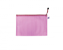 Mesh envelope with zipper A5 pink