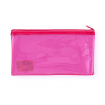 PP envelope with plastic zipper DL neon pink