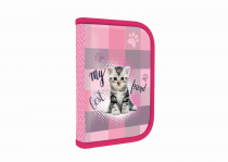 Pencil case filled 1 zip/1 flap Junior Cat