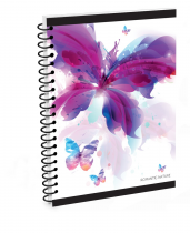Twin wire notepad A4 Soft Romantic Nature Butterfly