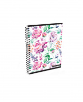 Twin wire notepad A6 Soft Romantic Nature Flower