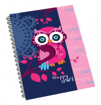 Twin wire notepad A5 Owl