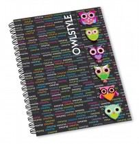 Twin wire notepad A4 Owl Style