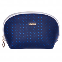 Cosmetic bag round Blue triangles