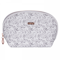 Cosmetic bag round White leaves