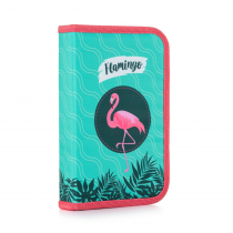 Pencil case filled 1 flap Flamingo
